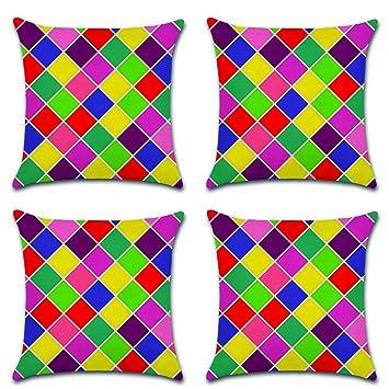 HuifengS Funda de Almohada de algodón Colorido geométrico Fundas de cojín de Lino para sofá Cojines Decorativos Home 4 Piezas, 45 x 45 CM