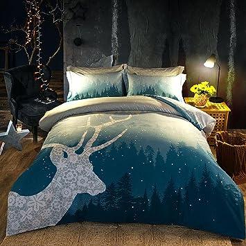 SASA Geweih Muster Bettwäsche Vintage Schlafzimmer Set Bettwäsche Set 4  Stücke 1 Bettbezug, 1 Bettwäsche