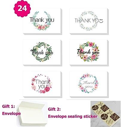 Juego de 24 tarjetas de agradecimiento con diseño de flores ...