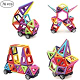 MarlaMall Magnetic Building Blocks, 76 PCS Mini Magnet Tiles Set Educational Stacking Toys for Kids Over 3 Years Old