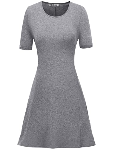 Aphratti Women's Short Sleeve Casual Slim Fit Crew Neck Dress