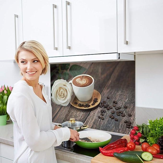 GRAZDesign Herdblende Kaffee mit Rose Glasbilder Holzoptik 80x50cm K/üchenr/ückwand Glas braun