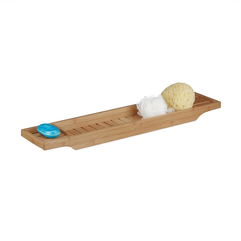 Relaxdays Bamboo Bathtub Tray with Grills, 4.5 x 70 x 14.5 cm, Bath Bridge, Shelf, High-Quality Wood, Tub Caddy, Natural Brown 10020320