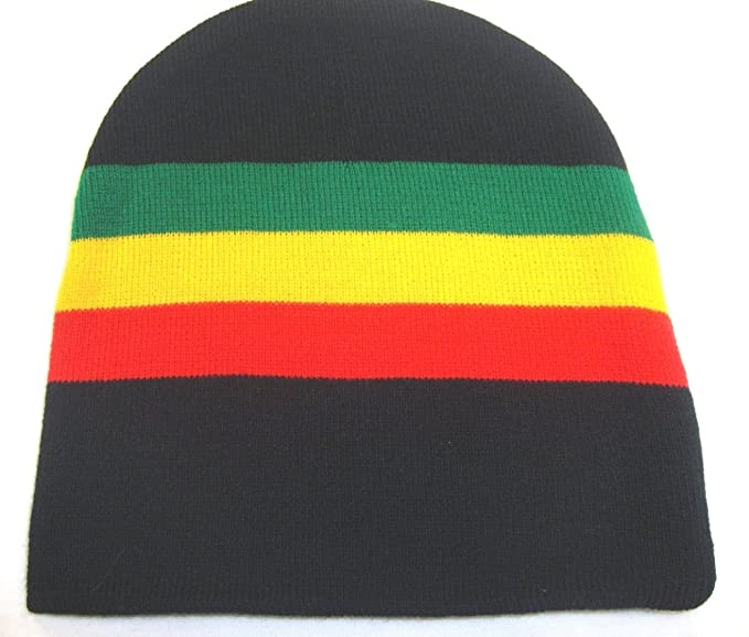 Amazon.com  Rasta Beanie Black Red Yellow Green Short Beanie  Clothing 2680d652bd4