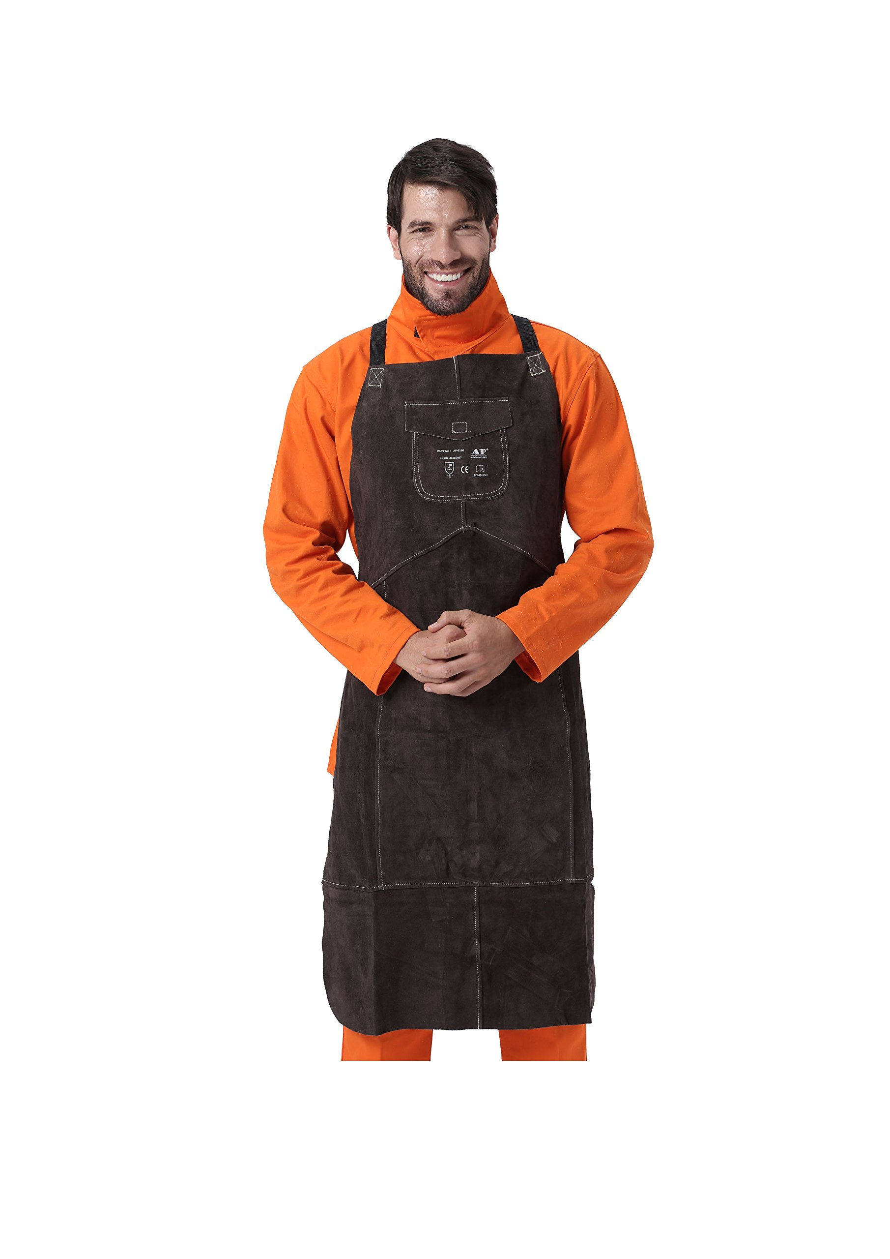 AllyProtect Length 42'' Heat/Flame Resistant Leather Welding Bib Apron with Pocket for Men/Women for Woodwork/Home Improvement/Heavy Duty Work £¨ Brown Color£ by AP ALLYPROTECT.COM (Image #1)