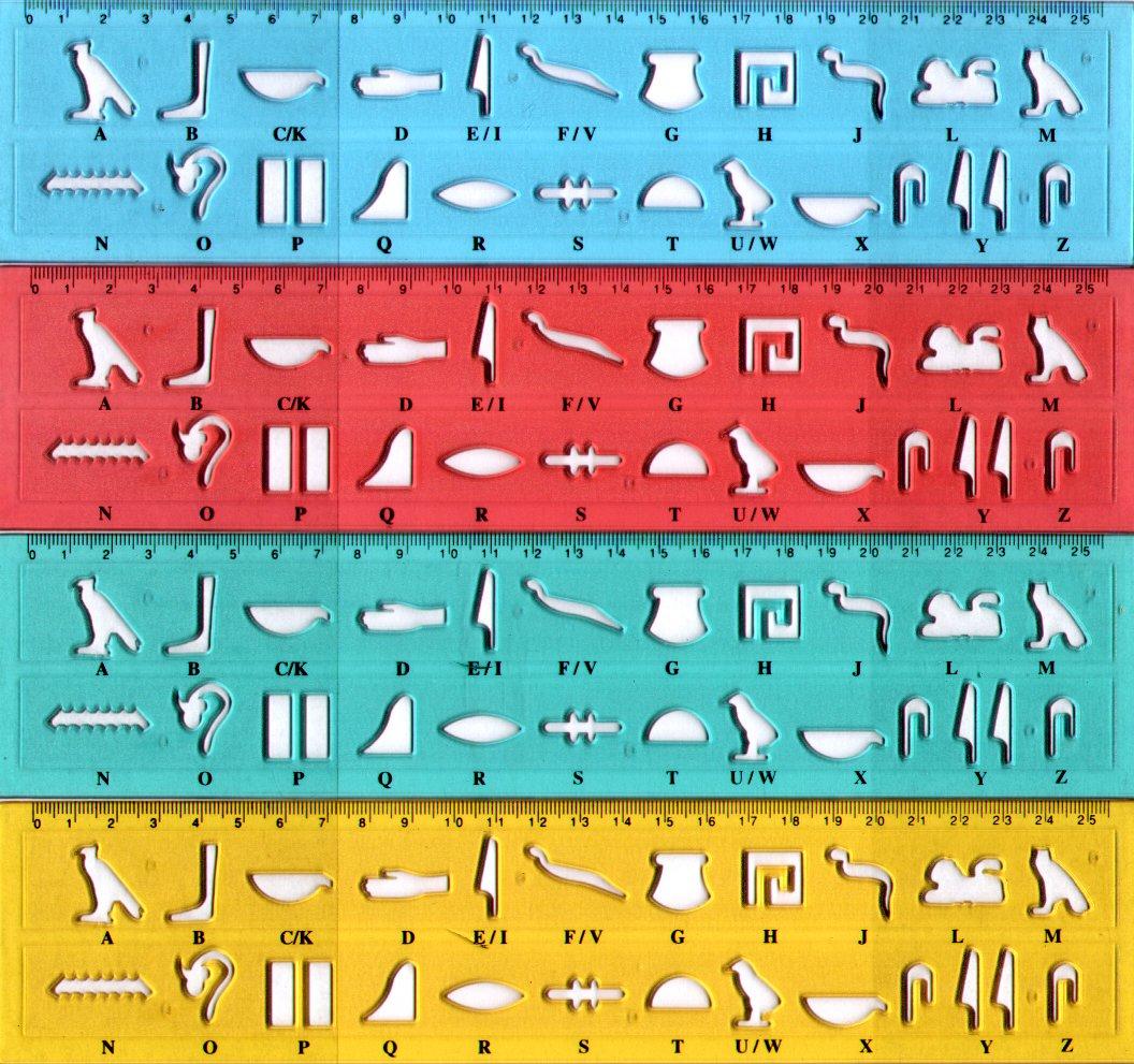 4x Hieroglyphenschablonen Unsere Namen in Hieroglyphen