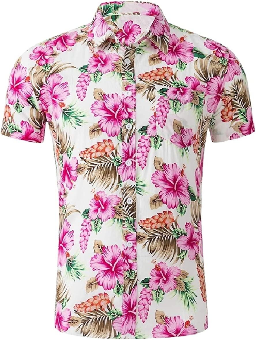 Zimaes-Men Short-Sleeve Casual Floral Print Oversize Work Shirt