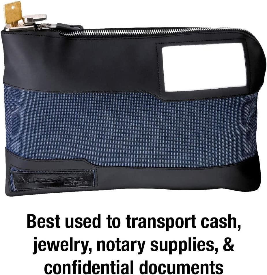 Blue Pack of 2 Master Lock 7120D Money Bag with Key Lock 11-1//2 in Long