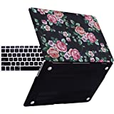 """HDE Designer Art Pattern Hard Shell Case Snap Protective Cover + Keyboard Skin for Macbook Air 13"""" - Fits Model A1369 / A1466 (Black Floral)"""