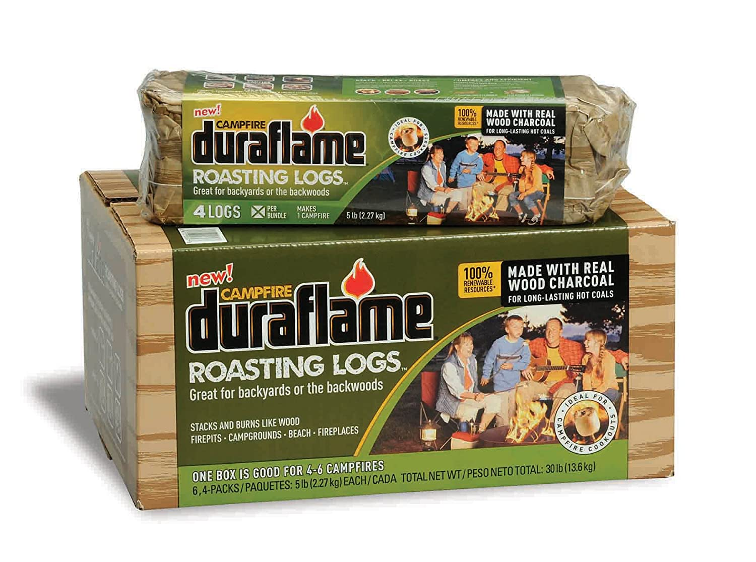 amazon com duraflame roasting logs 6 pack 5lb firelog bundles