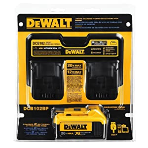 DEWALT DCB102BP 20-volt MAX Jobsite Charging Station with Battery Pack
