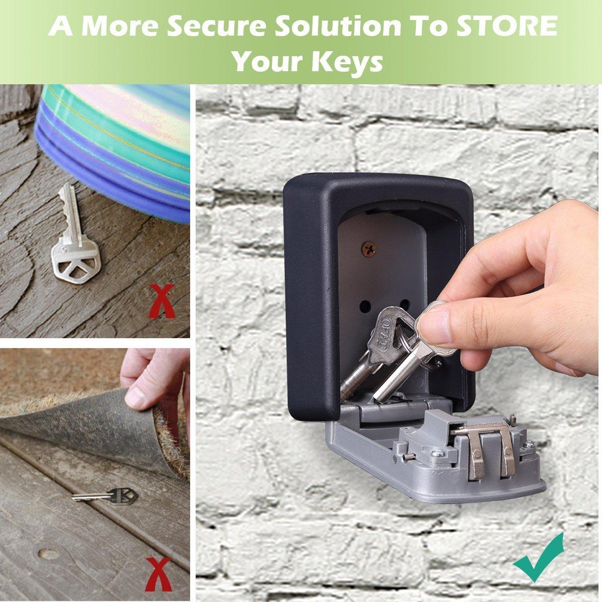 Key Lock Box, Exterior Outdoor Waterproof Hide Wall Mounted Key Safe Box - House use Key Storage Lock Box by YA MI (Image #2)