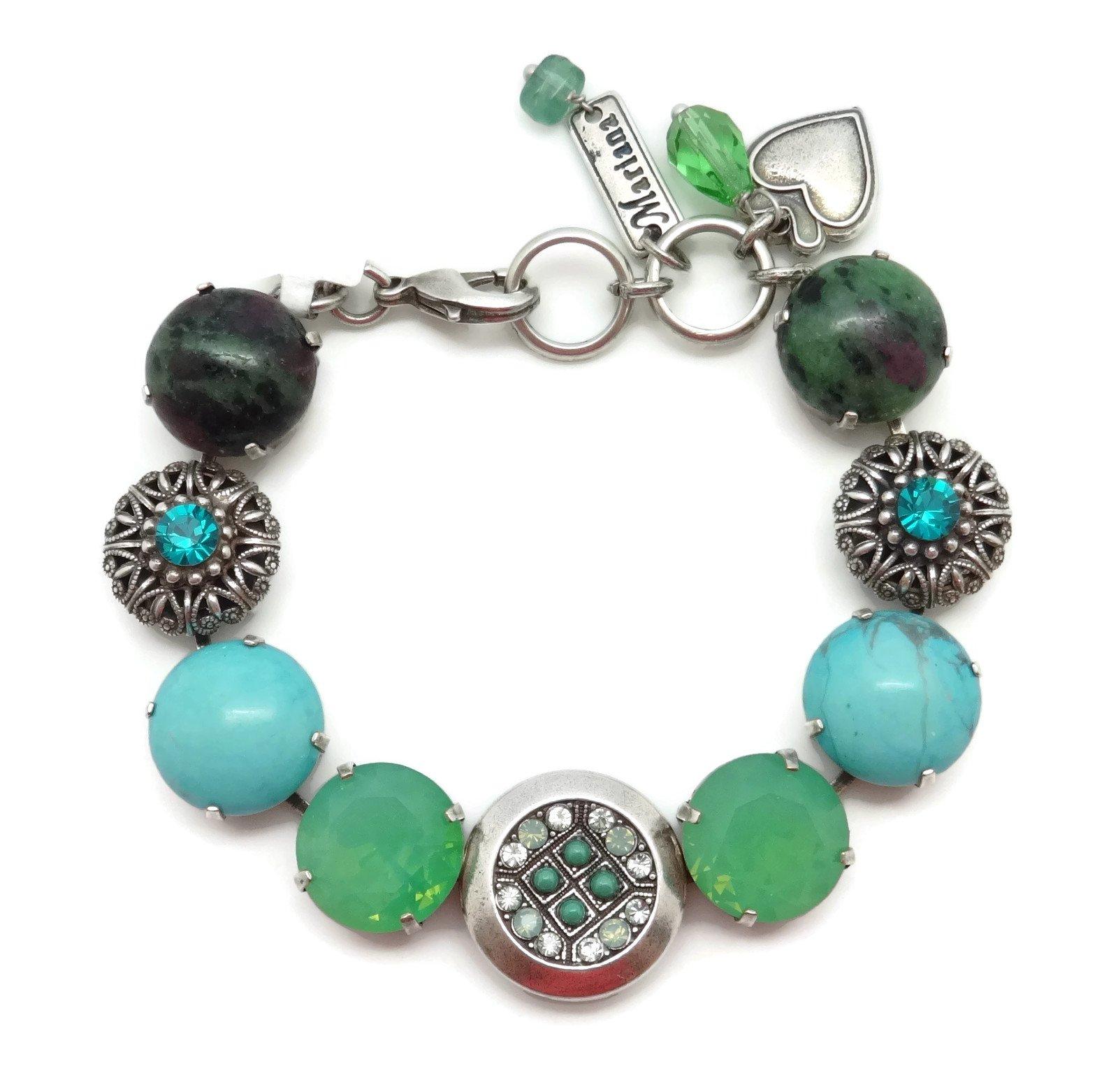 Mariana Silver Plated Swarovski Crystal & Mineral Stone Bracelet Green Mix M1076 Congo