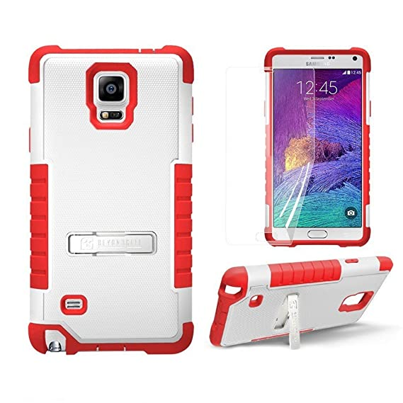 timeless design b8228 ccbdc Beyond Cell Tri Shield Samsung Galaxy Note 4 Case, Rugged Heavy Duty Hybrid  Phone Case with Kickstand- FREE Screen Protector (White/Red)