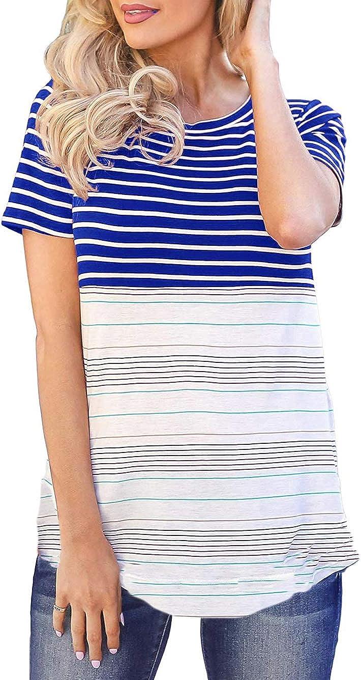 Kaei&Shi Batwing One Shoulder, Off The Shoulder Tops, Print Striped Shirts, Sexy Loose Sweatshirt for Women (Blue, XL=US 12)