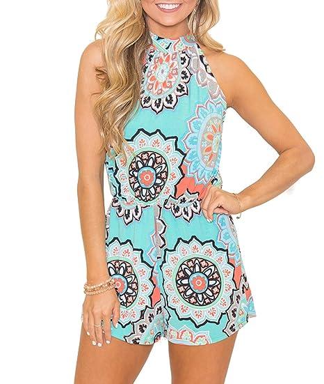 7a0d5004a733 Mesitelin Women Halter Neck Floral Print Romper Jumpsuit Casual Beach  Summer Outfit(S