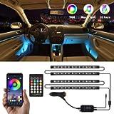 Interior Car Lights, NDDI 4pcs 48 LED DC 12V Interior Car Lights Bluetooth App Control Lighting Kits Multi Color Music…