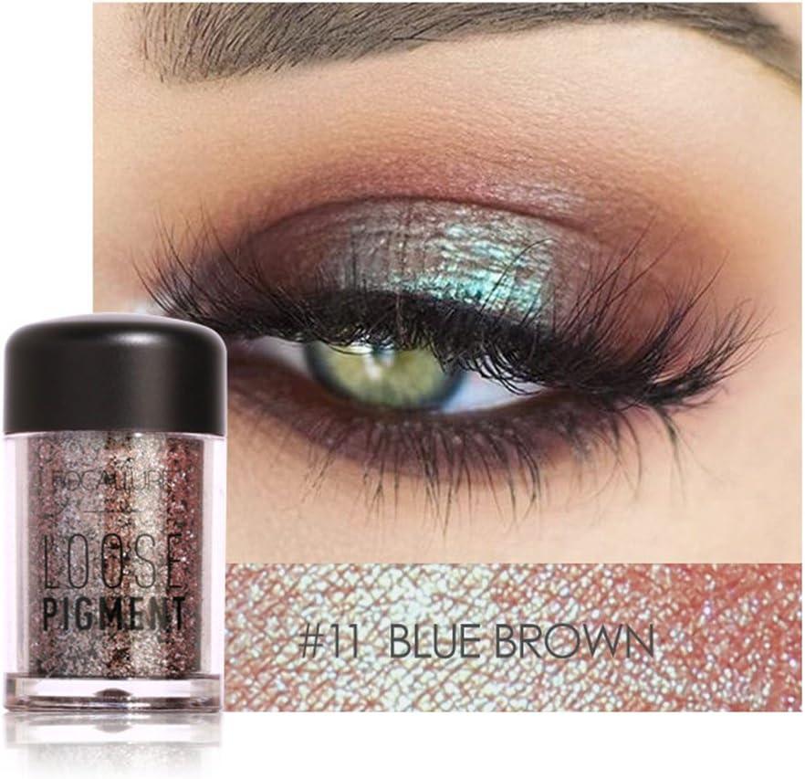 12 colores brillo sombra de ojos belleza ojos pigmentos en polvo labios sueltos maquillaje cosméticos(#11)