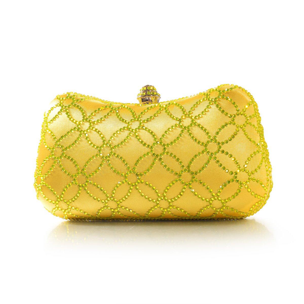 DMIX Women Clutch Purse Hard Case Shiny Evening Bag Glitter Handbag With Chain Strap Yellow