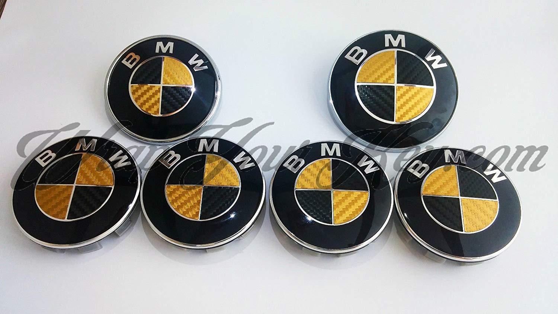 Adesivo per stemma BMW oro e nero in fibra di carbonio per cofano adatto a tutti i modelli BMW portellone posteriore e cerchioni