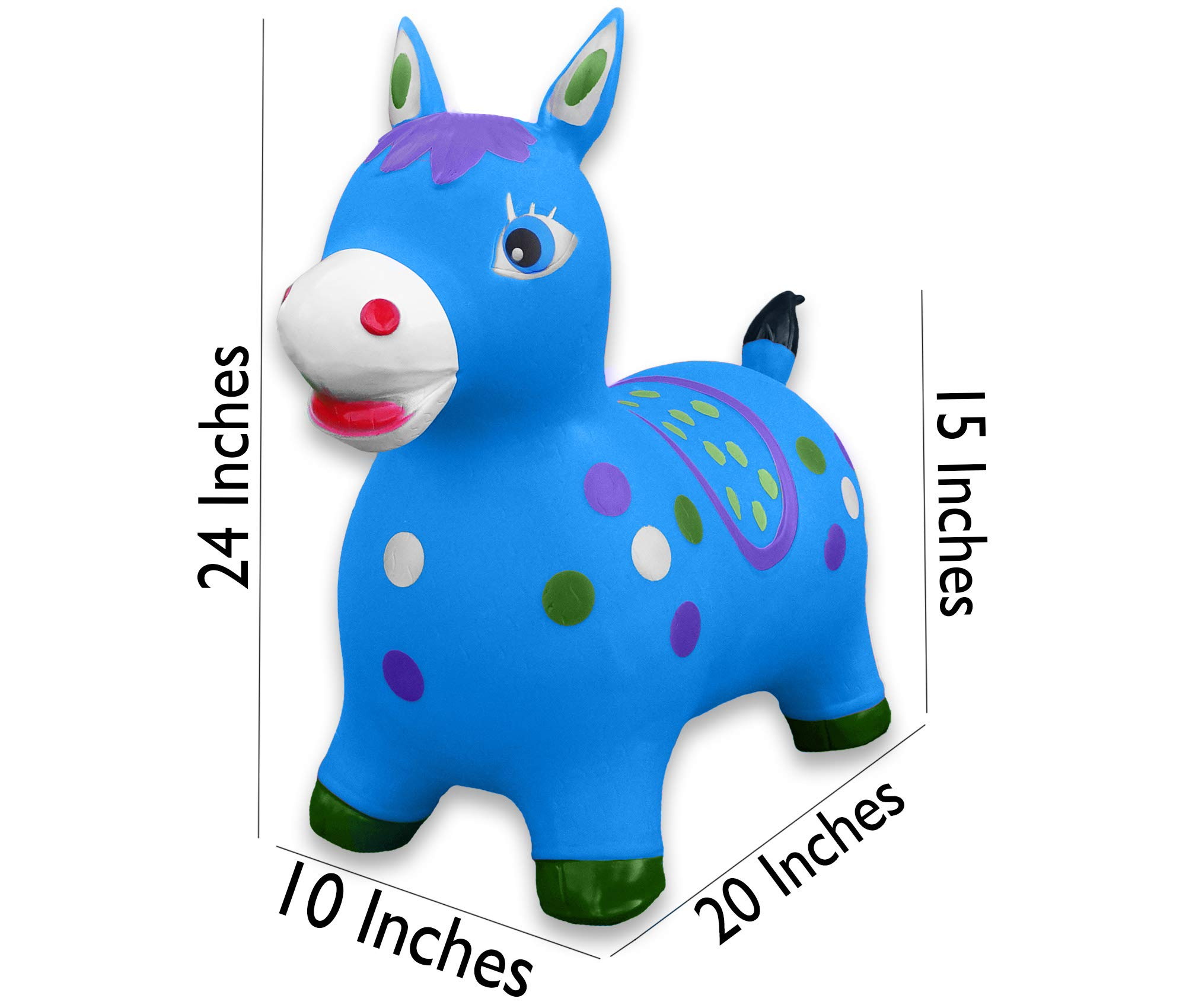 Bouncy Horse - ECO-Friendly - Animal Bouncing Hopper Toy, Inflatable Ride on Jumping Bouncer for Kids