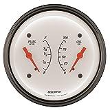 Auto Meter 1313 Arctic White Oil/Fuel Dual Gauge
