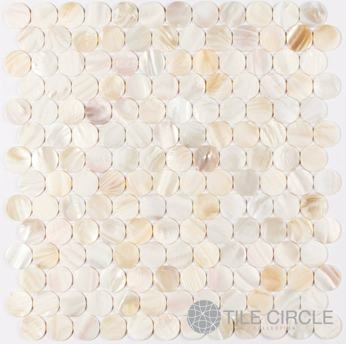 Genuine Mother of Pearl Shell Tile Natural Varied 1'' Circles (On a 12'' X 12'' Mesh) for Backsplash and Bathroom Walls and Floors