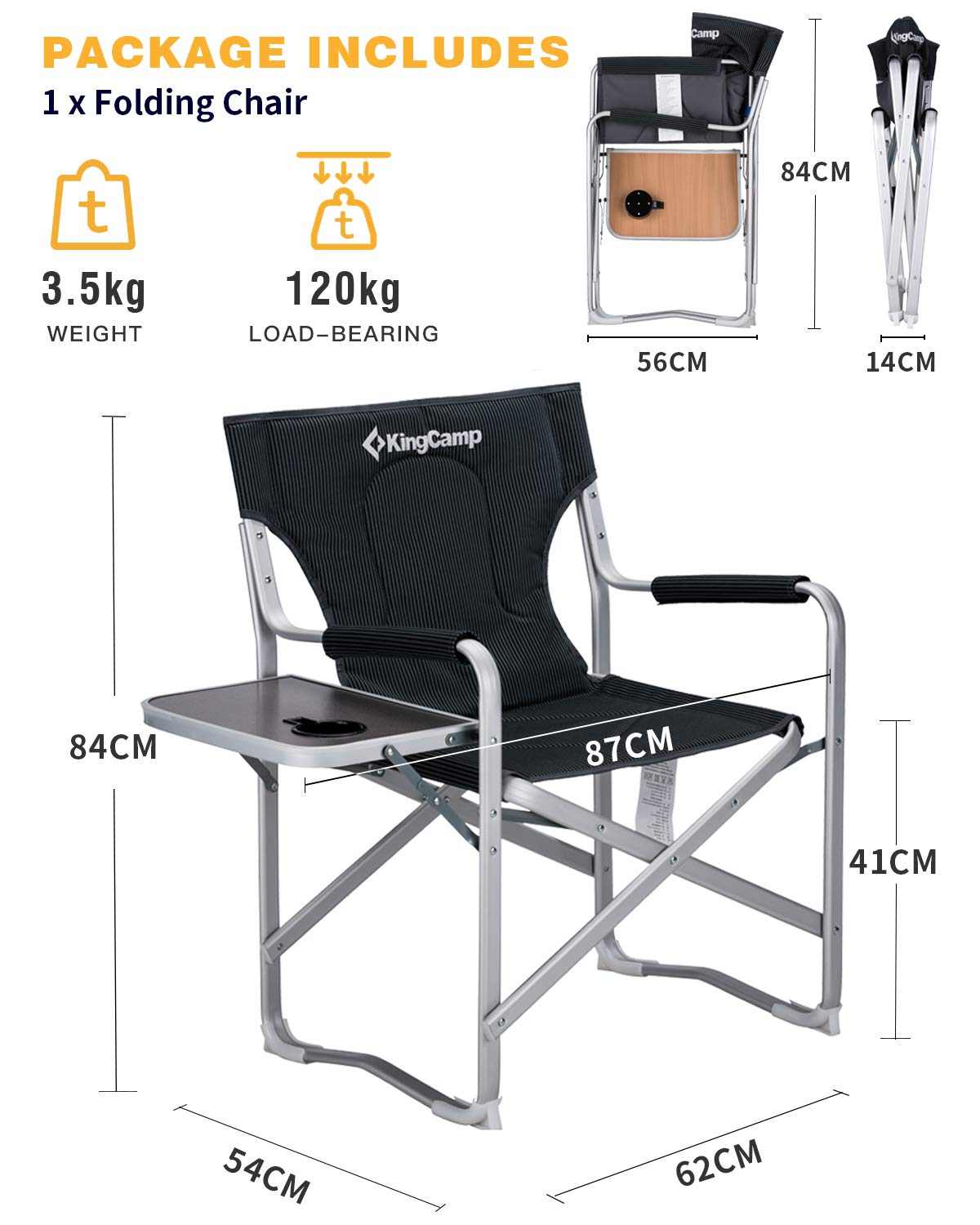 KingCamp Director Camping Chair Portable Folding Aluminum Padded Heavy Duty Comfort with Armrest Side Table and Cup Holder Supports 120kg