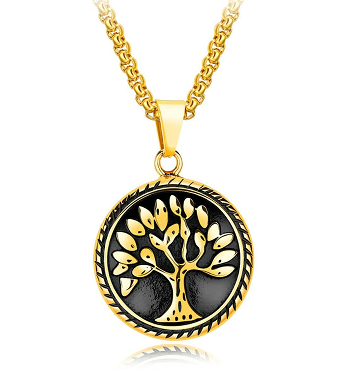 KnSam Necklace Fashion Jewelry Stainless Steel Necklace for Men The Tree of Life