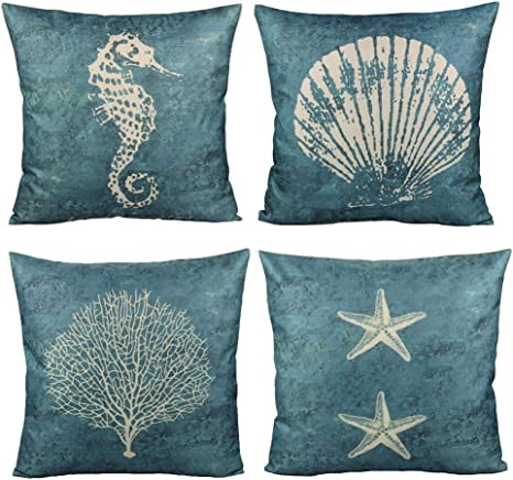 All Smiles Blue Shell Throw Pillow Covers For Outdoor Patio Furnitures Ocean Themed Decorative Cushions Navy Sea Vintage Decor 18x18 Set Of 4 For Couch Sofa Starfish Prints Home Kitchen