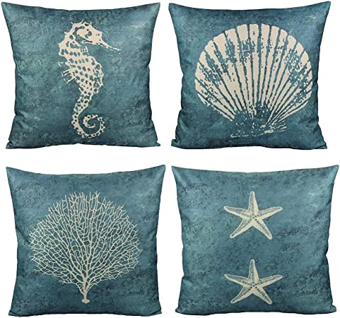 Amazon Com All Smiles Blue Shell Throw Pillow Covers For Outdoor Patio Furnitures Ocean Themed Decorative Cushions Navy Sea Vintage Decor 18x18 Set Of 4 For Couch Sofa Starfish Prints Home Kitchen