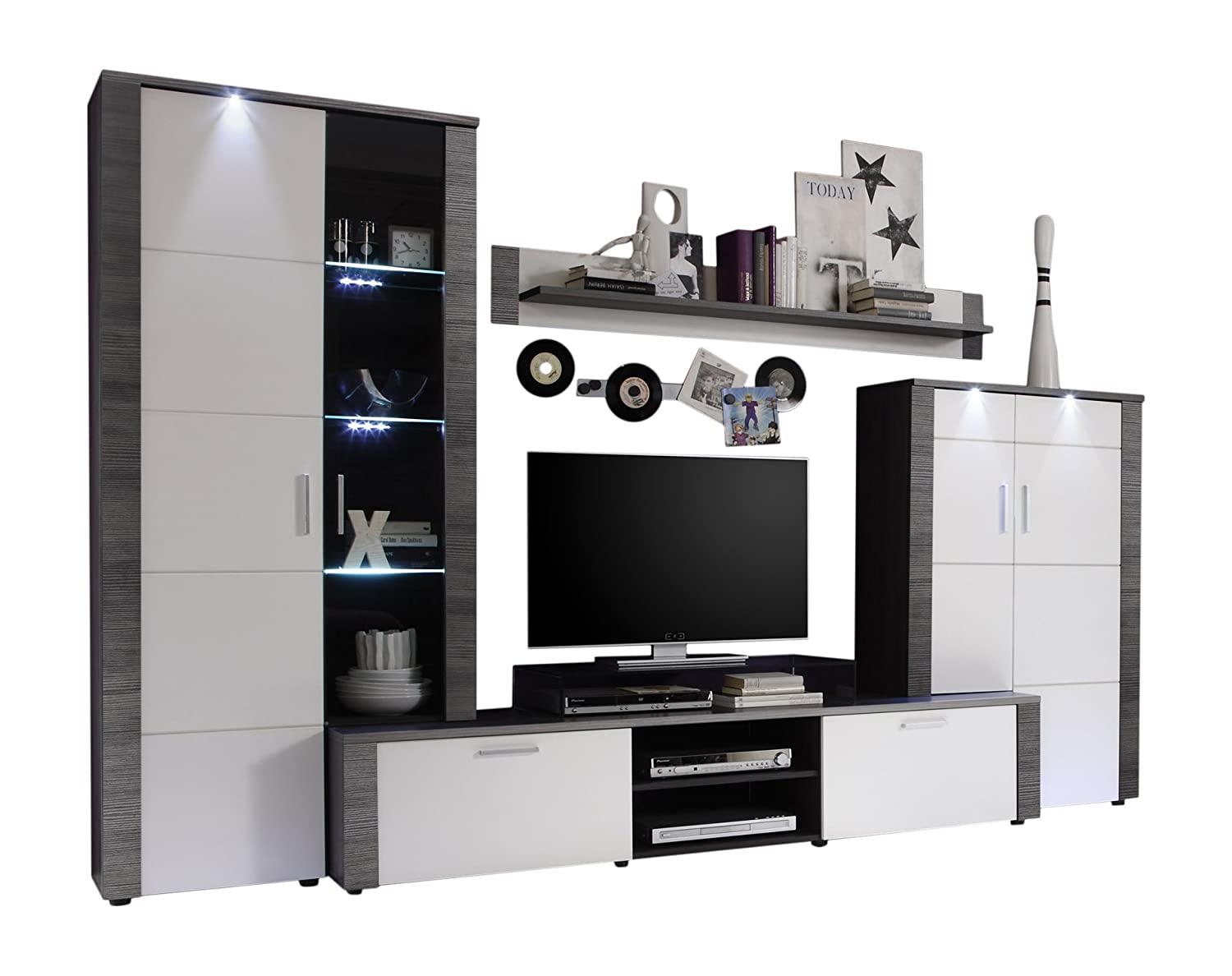 Maisonnerie 1312 987 10 Xpress Ensemble Meubles Tv Fr Ne Blanc  # Meuble Tv Frene