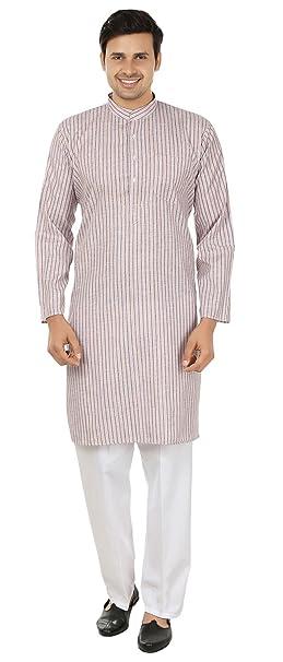 Arce Ropa Tradicional de algodón de rayas para hombre indio Kurta Pijama Ropa de la India