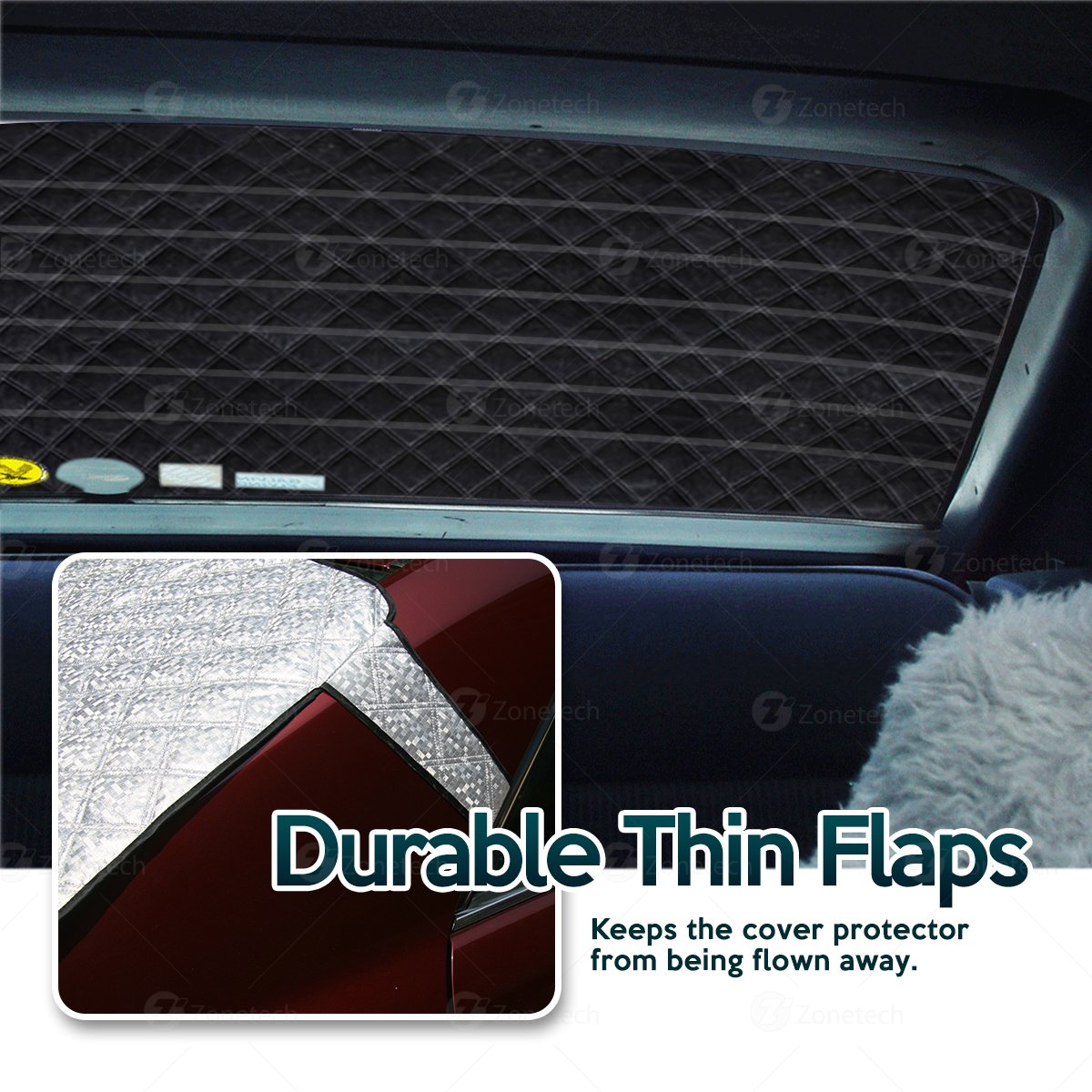 Zone Tech Car Rear Windshield Snow Ice Cover Protector with Flaps All Weather Premium Quality Summer Winter Shield Protector Comfort Wheels