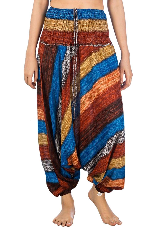 Lofbaz Donna Tie Dye Harem Fiore Smocked Waist Ovale Jumpsuit Pantaloni