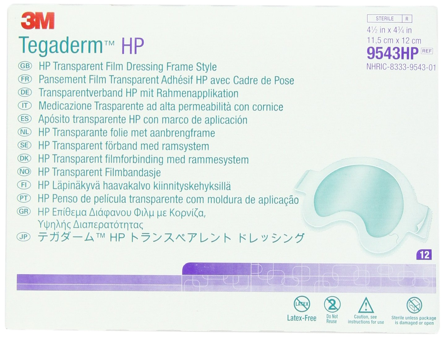 3M C3SD 9543HP Tegaderm Holding Power Transparent Film, Dressing Frame Style (Pack of 48)