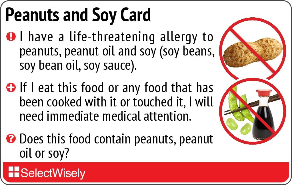 Peanuts and Soy Allergy Translation Card - Translated in German or any of 9 languages