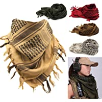 HighlifeS Tactical Scarf Outdoor Military Arab Tactical Desert Keffiyeh Scarf Shawl Neck Cover Head Wrap (A)