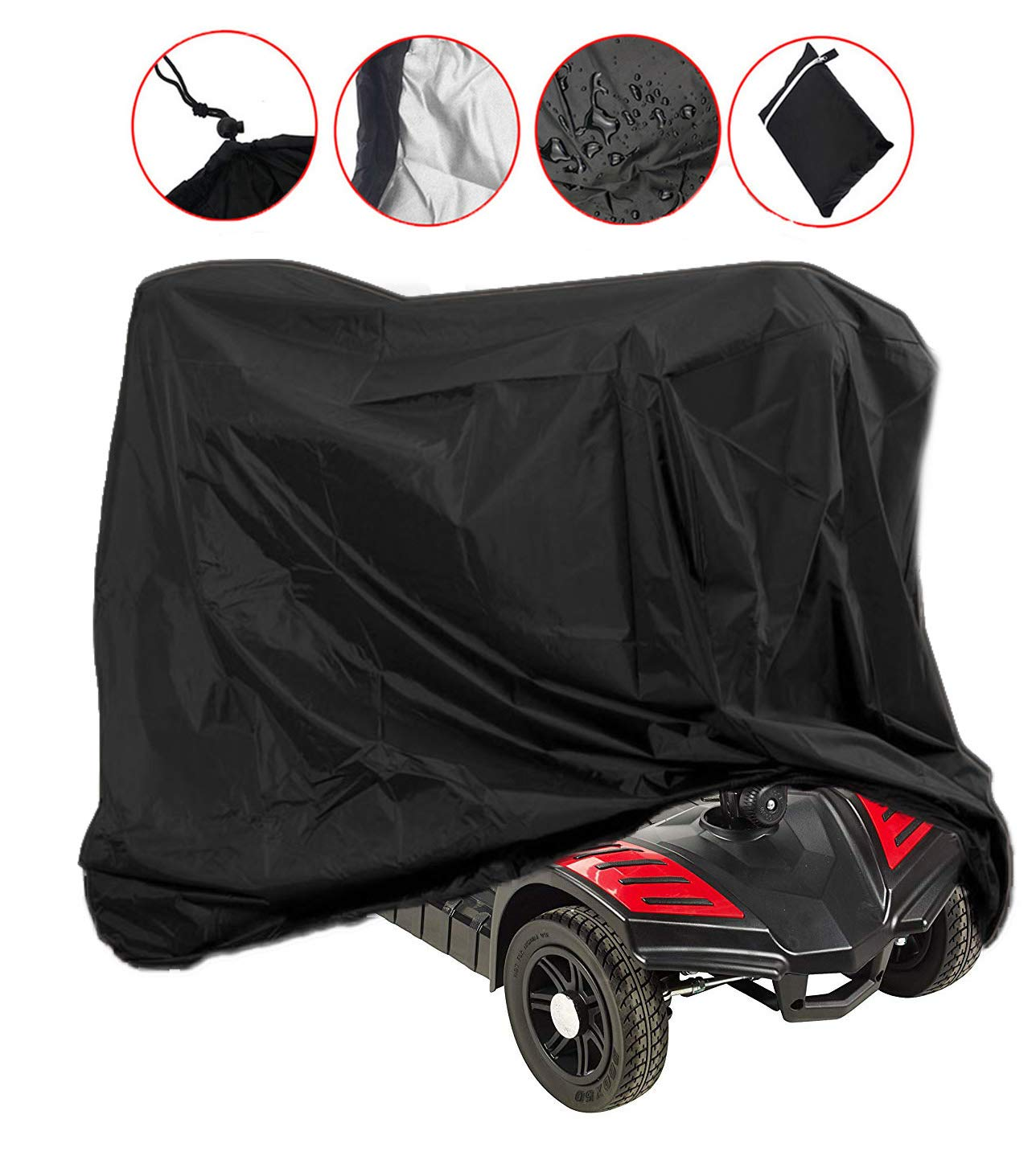 Mobility Scooter Storage Cover, Wheelchair Storage Cover Waterproof Lightweight Rain Protector from Dust Dirt Snow Rain Sun Rays - 55 x 26 x 36 inch (L x W x H) by Lmeison