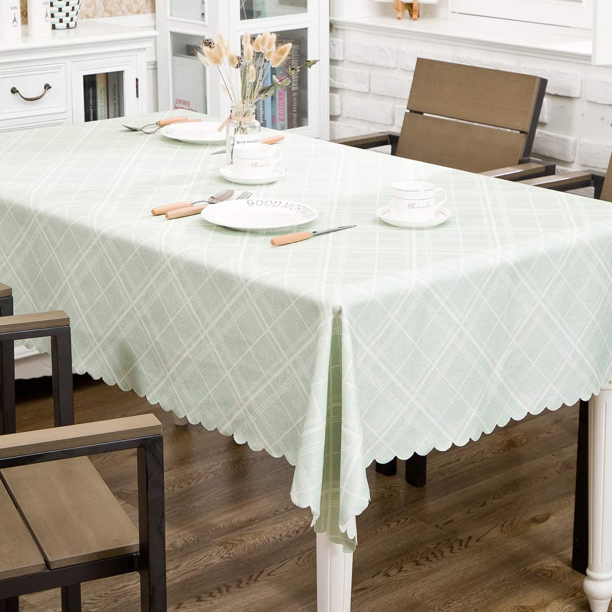 "Hewaba Rectangle Printed Tablecloth - 60"" x 84"" Polyester Washable Table Cover, Seats 6-8 People, Wrinkle Free, Oil-Proof/Waterproof Tabletop Protector for Kitchen Dining Party - Twill Lake Blue …"
