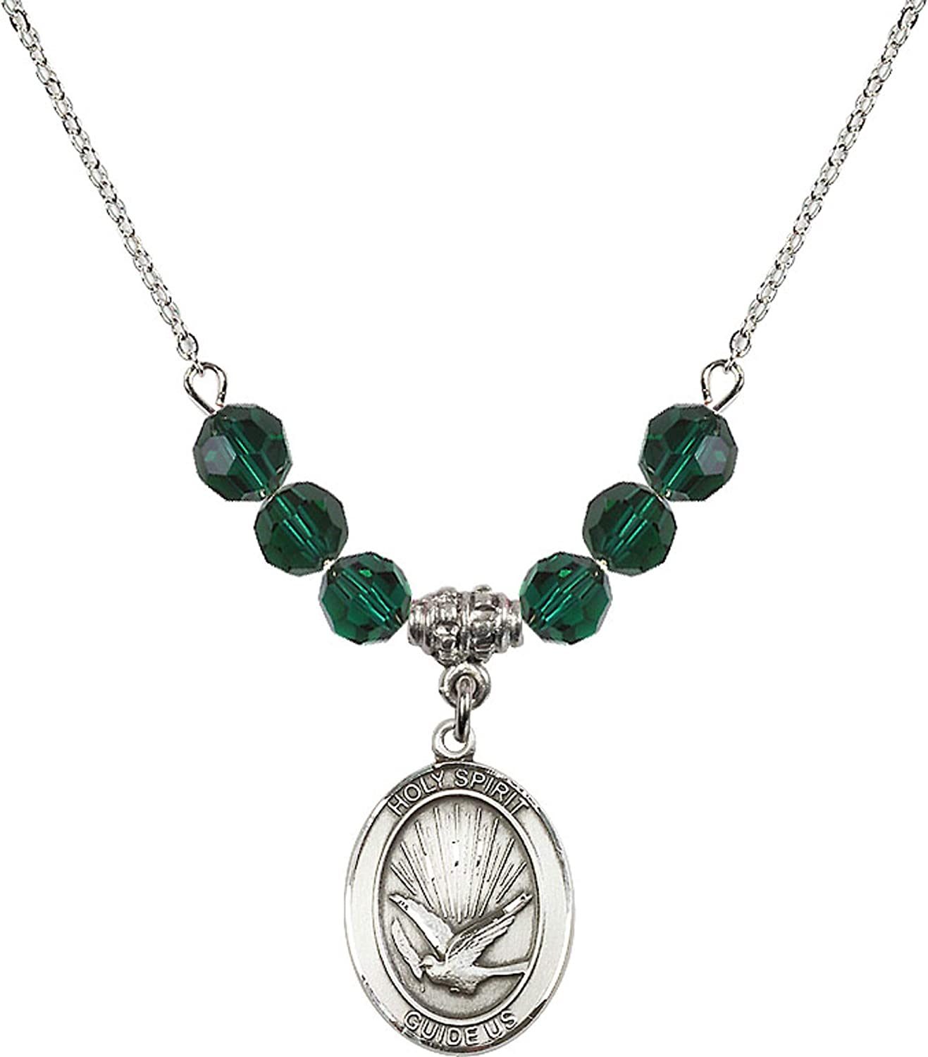 Bonyak Jewelry 18 Inch Rhodium Plated Necklace w// 6mm Green May Birth Month Stone Beads and Holy Spirit Charm