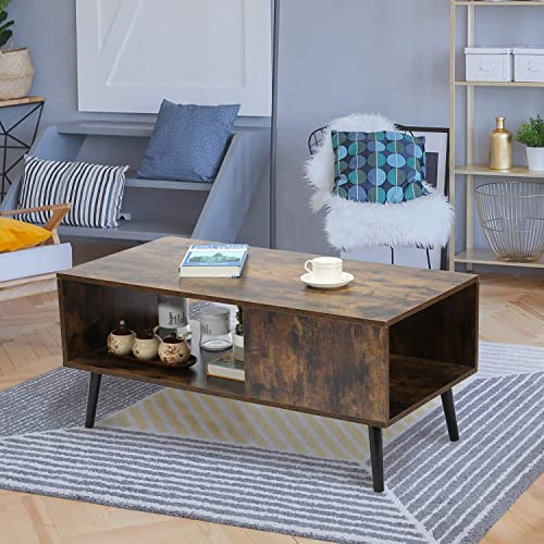 GOOD GRACIOUS Mid-Century Coffee Table, Boho Wooden Center Table Low Accent Table, Modern Cocktail Table with Storage Drawers, for Small Space Living Room, Rustic Brown