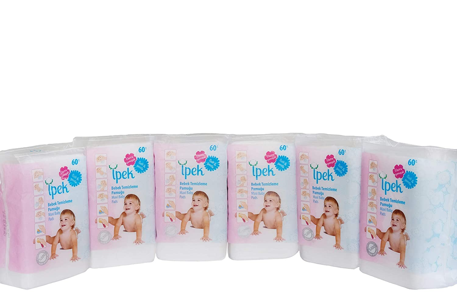 Ipek maxi baby pads large 100/% cotton total 360 count in 6 packs squares cotton pad squares for baby care pads