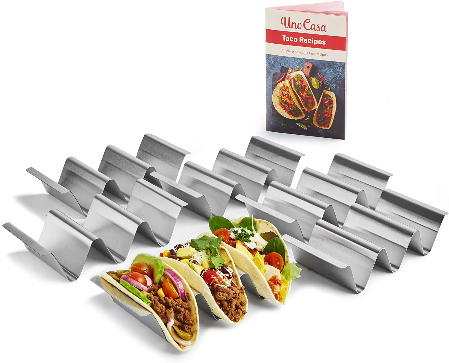 Uno Casa Taco Holders set of 6 - Metal Taco Holder for Taco Shells, Durable Taco Stand for Taco Tuesday or as a Taco Shell Mold - U-Shaped Taco Rack and Recipe Book