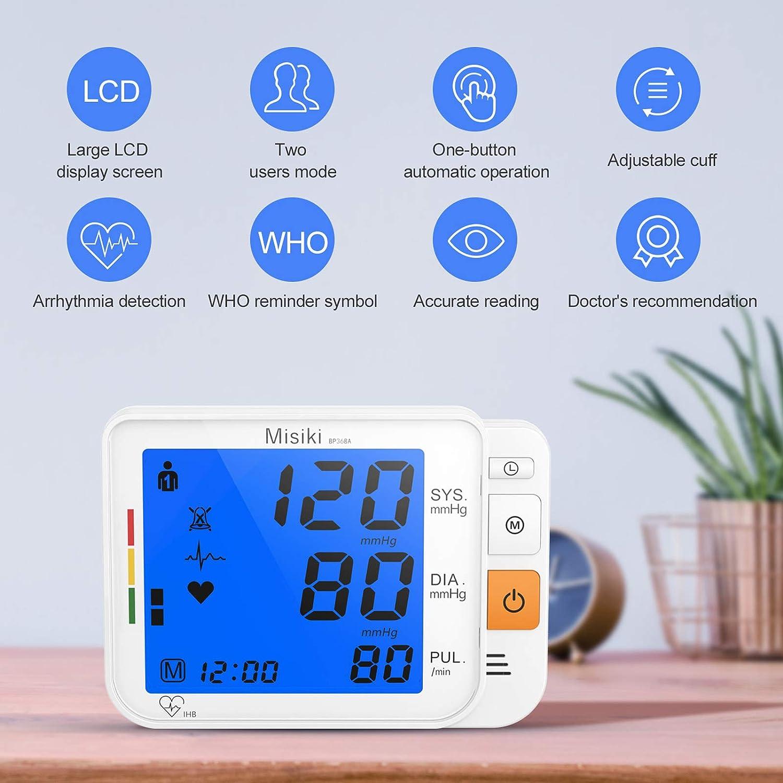 Misiki Tensiómetro de Brazo digital Tensiómetros de Brazo eléctricos Monitor de Presión con pantalla de LCD Medición digital automática, Brazalete 22-42 cm, 2 * 120 Usuario Dual mediciones Memoria: Amazon.es: Salud y cuidado personal