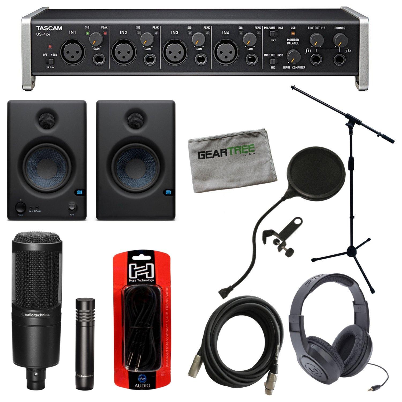 Tascam US-4X4 USB Interface w/Studio Monitors, Headphones, Mic Stand, 2 Microph