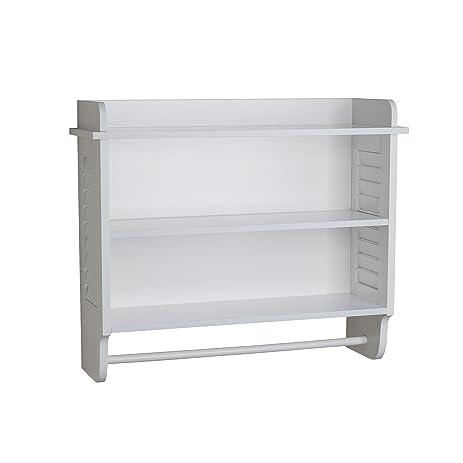 Danya B. White Bath Cabinet with Adjustable Shelf and Towel Bar ...