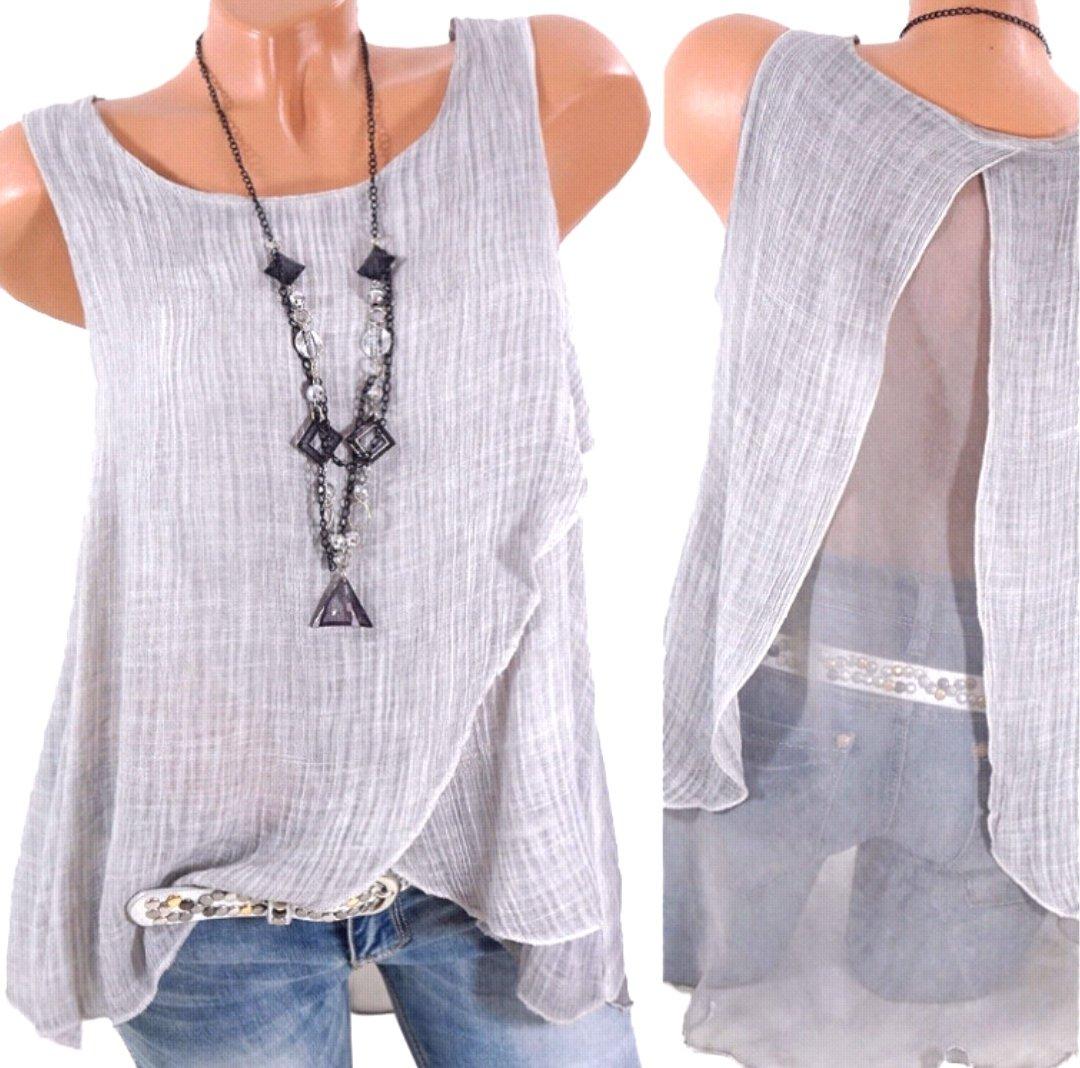 Nicetage Womens Chiffon Blouse Vest Sleeveless Shirt Casual Summer Backless Plus Size Tank Tops Wangsha Gray XXXXXL