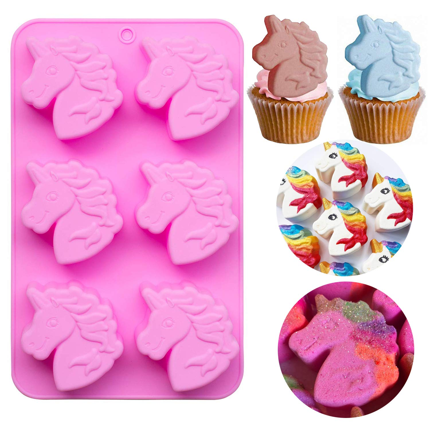 Fewo 6 Cavities Unicorn Head Cupcake Mold, Non-stick Unicorn Shaped Silicone Mould for Party Cakes Soaps Bath Bombs Jello Shots Kids' Baking Supplies
