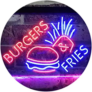 ADVPRO Burgers & Fries Fast Food Open Shop Dual Color LED Neon Sign Red & Blue 16